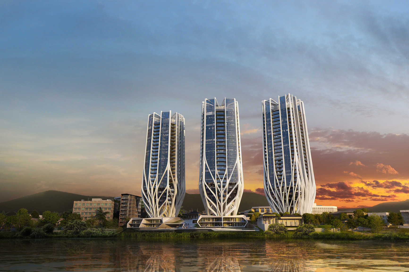 Three buildings with sculpted, organic architectural form in Brisbane development