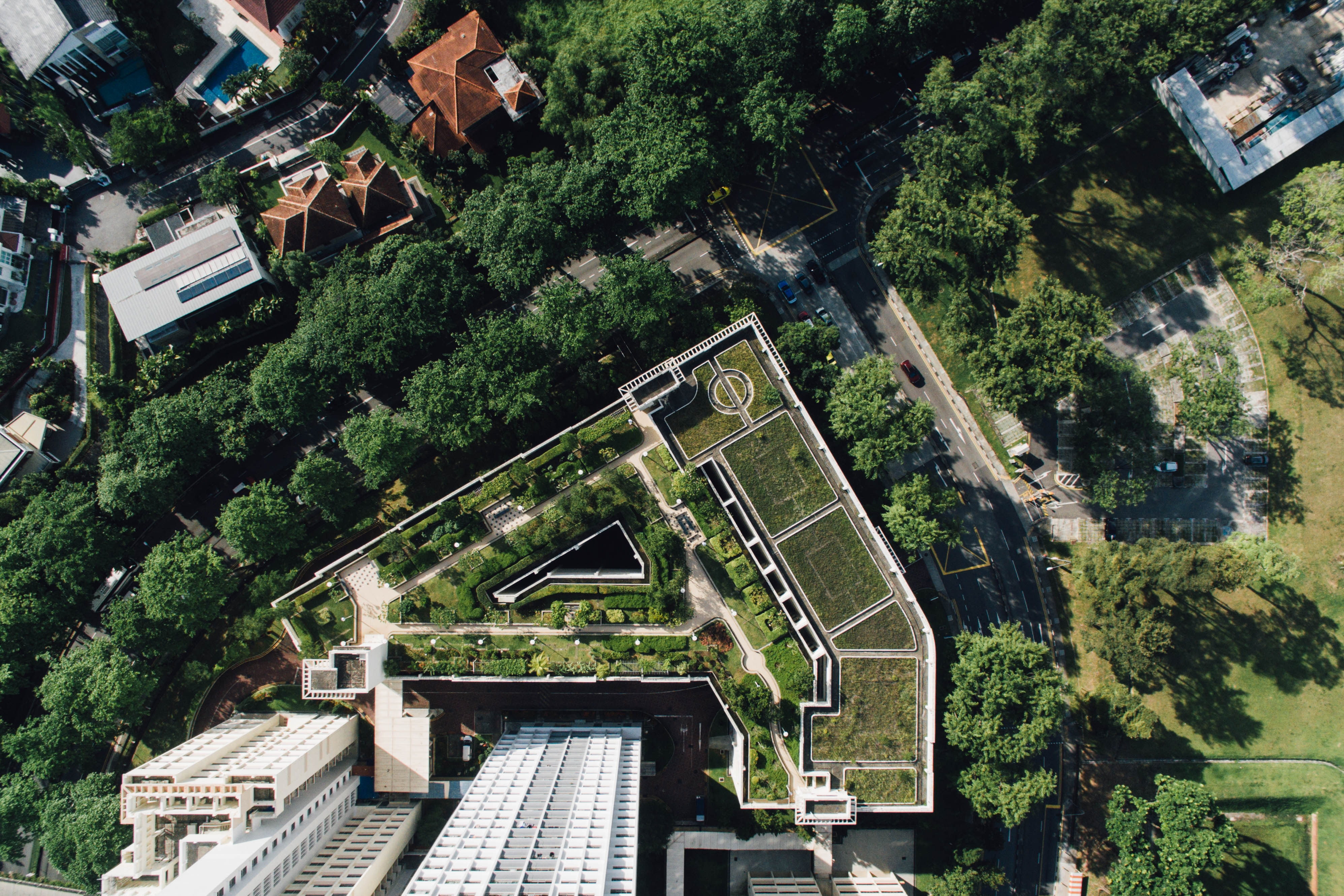 Aerial image of rooftop garden
